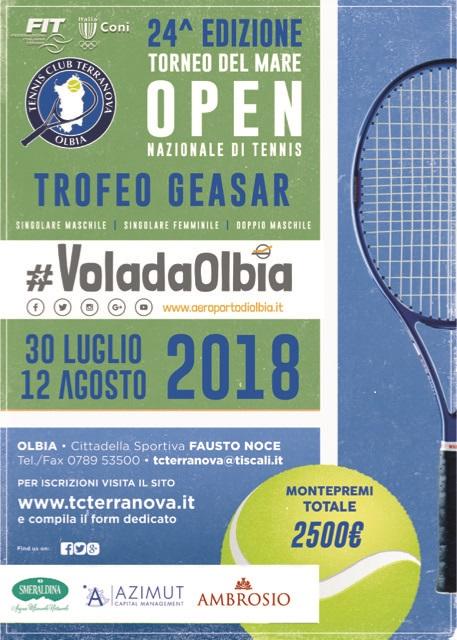 Open Nazionale Singolare M/F, Doppio M – Trofeo Geasar – 24^ Edizione Torneo del Mare dal 30 Luglio al 12 Agosto 2018.