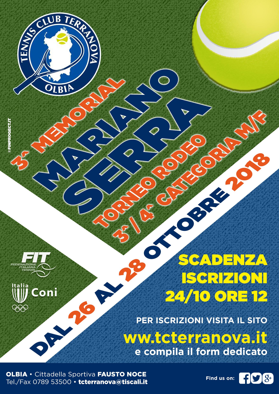 Torneo Rodeo 3^ – 4^ Cat. M/F, 3° Memorial Mariano Serra dal 26 al 28 Ottobre 2018