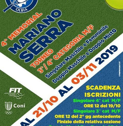 Torneo 3^ – 4^ Cat. M/F 4° Memorial Mariano Serra