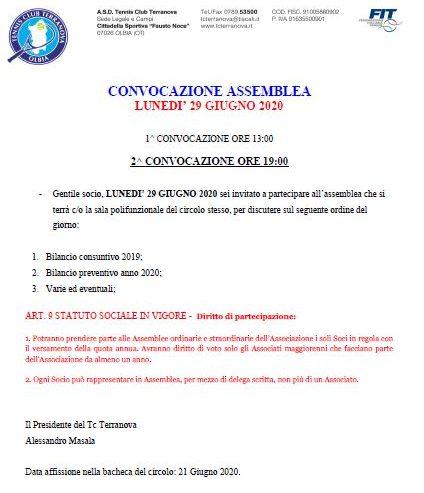 LUNEDI' 29 GIUGNO CONVOCAZIONE ASSEMBLEA SOCI
