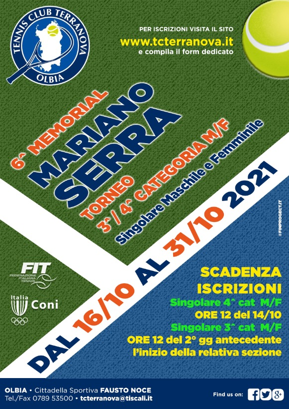 Torneo 3^ – 4^ Cat. M/F 5° Memorial Mariano Serra 2021